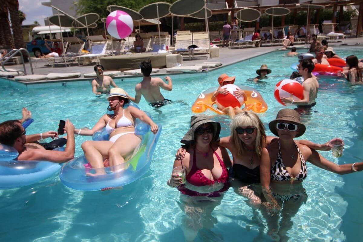 amateur teens in pool